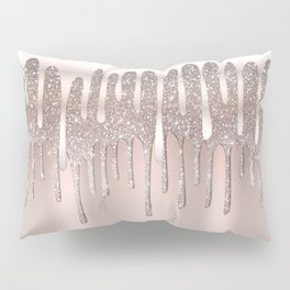 Icy Pink Rose Gold Diamond Dust Glitter Drips Pillow Sham