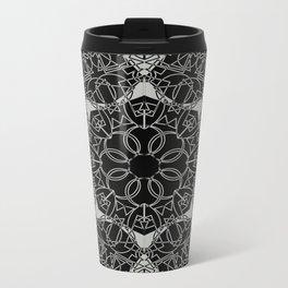 Gothic Link Flower Mandala Black and Grey Metal Travel Mug