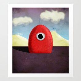 Red Fluff Monster Art Print
