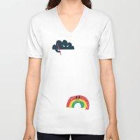 rain V-neck T-shirts featuring Rain Rain Go Away by Picomodi