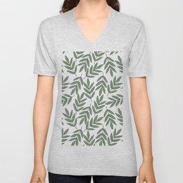 Vintage green white foliage leaves floral pattern Unisex V-Neck