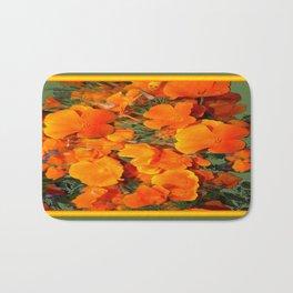Sage Green Art Golden California Poppies Design Bath Mat