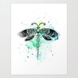 Watercolor dragonfly Art Print