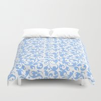 renaissance Duvet Covers featuring Blue Renaissance Scroll by Antique Images