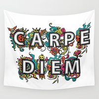 carpe diem Wall Tapestries featuring Carpe Diem by Digi Treats 2
