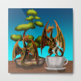 Hot Coffee with Bonsai and Fire Dragons Metal Print