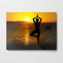 Yoga Female by the Ocean at Sunset Metal Print