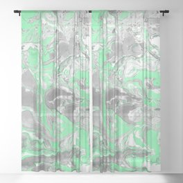 Light green and gray Marble texture acrylic paint art Sheer Curtain