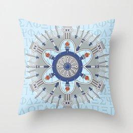 Ancient Greece Themed Mandala Throw Pillow