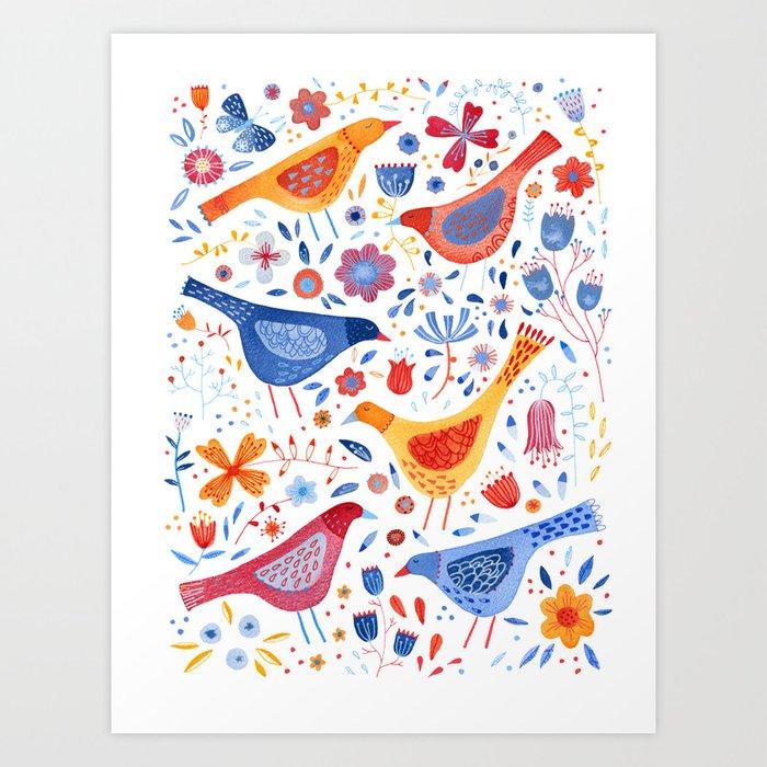 Birds in a Garden Art Print