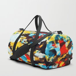 psychedelic geometric splash abstract pattern in blue red yellow brown Duffle Bag