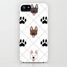 3 German Shepherd Colors Paw Print Pattern iPhone Case