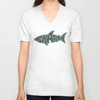 lakers V-neck T-shirts featuring LA Sharks Alt 3 by Nicko-Suave