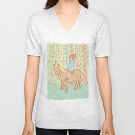 Girl in blue coat on an unicorn, in a forest Unisex V-Neck