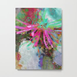 Floral Burst in Pink and Turquoise Metal Print