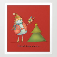 Friends keep warm - red Art Print