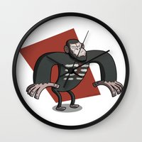 planet of the apes Wall Clocks featuring Caesar - Dawn of the Planet of the Apes Cartoon by Aaron Lecours