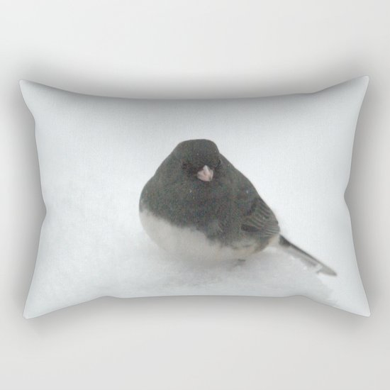 Snow Bird (Dark-eyed Junco) Rectangular Pillow