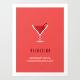 Manhattan Cocktail Recipe Art Print Art Print