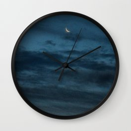 Morning Moonrise: Crescent in the Clouds Wall Clock