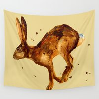 hare Wall Tapestries featuring Hare, hare cushion, rabbit pillow by eastwitching