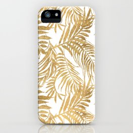 Elegant tropical gold white palm tree leaves floral iPhone Case