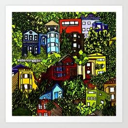 Corona Heights (colored) Art Print