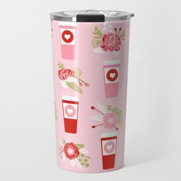 Coffee valentines day florals cute coffee lovers gifts that say i love you Travel Mug