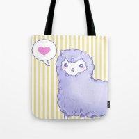 alpaca Tote Bags featuring Alpaca by Nurt