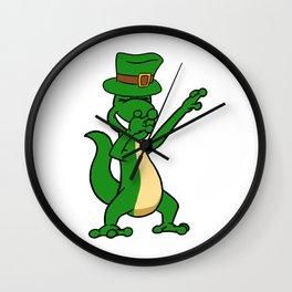 Dabbing St Patrick_s Day Iguana Leprechaun Wall Clock