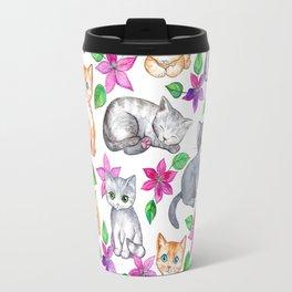 Kittens and Clematis - white Travel Mug
