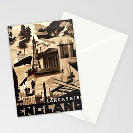 Travel Poster England Lancashire Art Deco Ralph Mott Stationery Cards