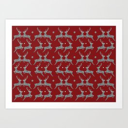 Holiday Silver Sparkle Reindeer Textile Art Print