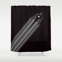 iron man Shower Curtains featuring IRON MAN by MISTER BLACKWHITE