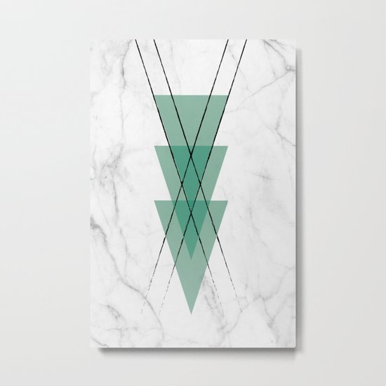 Marble Scandinavian Design Geometric Triangle Metal Print