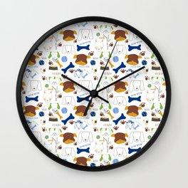Good Doggie Hand-Drawn Cartoon Dog Print on White Wall Clock
