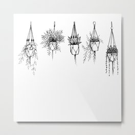 Succulent & macrame Metal Print