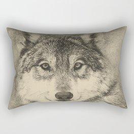 Timber Wolf Pencil Illustration Rectangular Pillow