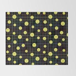 Colorful Smiley Emoji 4 - black Throw Blanket
