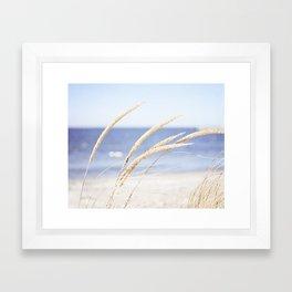 Beach Grass Blue Photography, Coastal Ocean Landscape, Sea Seashore Seascape Shore Framed Art Print