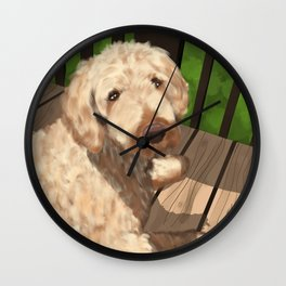 Riley the Golden Doodle Wall Clock