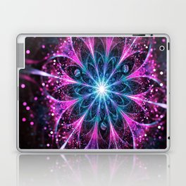 Winter violet glittered Snowflake or flower Background Laptop & iPad Skin