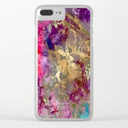 Galaxy, abstract, fire+ice gold accent Clear iPhone Case