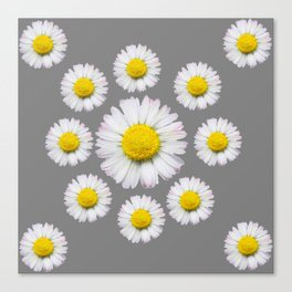 WHITE SHASTA DAISY FLOWERS  DECORATIVE GREY ART Canvas Print