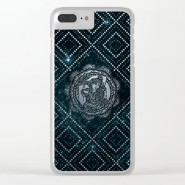 Aquarius Zodiac Silver Embossed on the Star sky Clear iPhone Case