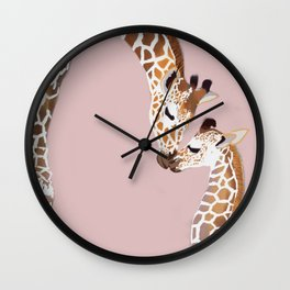 Giraffe mother and baby Wall Clock