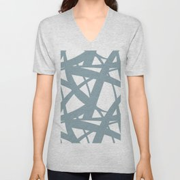 Pale Blue & White Abstract Mosaic Pattern 3 Pairs to Clare's 2020 Color of The Year Good Jeans Unisex V-Neck