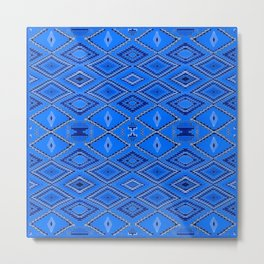 Blue Navajo inspired pattern. Metal Print