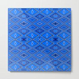 Blue Navajo inspired pattern. Metal Print