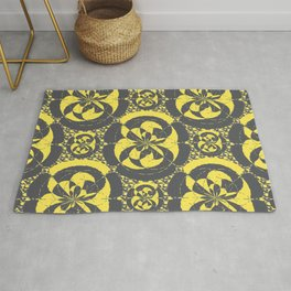 Dark grey and yellow Rug